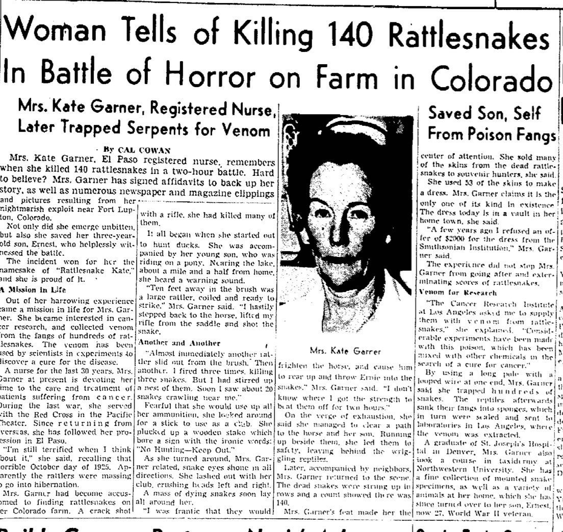 Colorado News: Learn About Rattlesnake Kate In Greeley, Colorado History