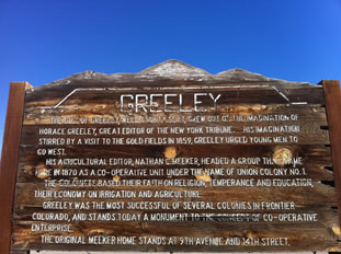 Sign telling Greeley History
