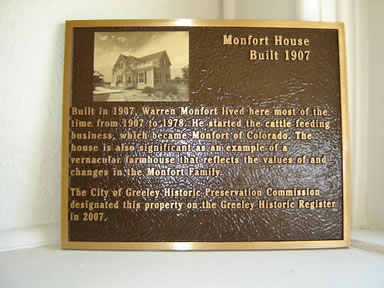 Monfort Family Home plaque