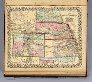 1870 Map Kansas Nebraska and Colorado
